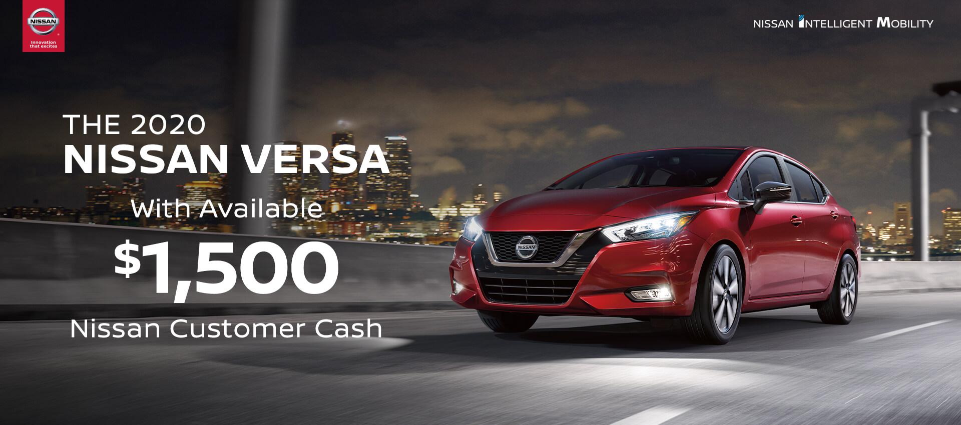 2020 Versa $1,500 Customer Cash