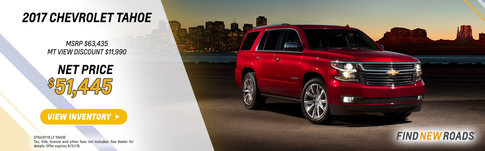2018 Chevy Tahoe 10% Off