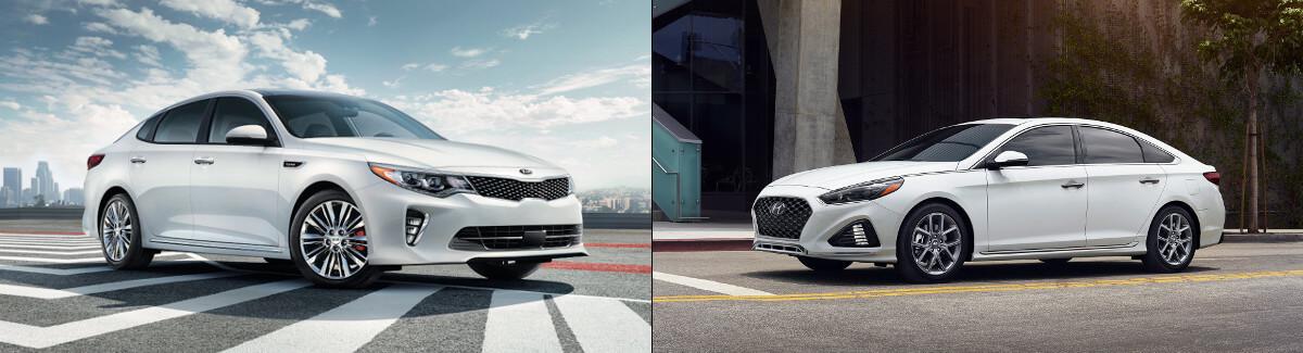 2018 Kia Optima and 2018 Hyundai Sonata side by side image;
