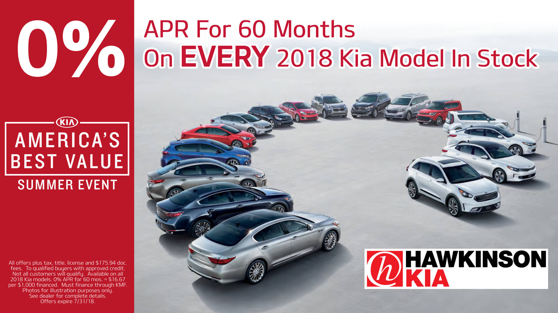 0% APR For 60 Months on EVERY 2018 Kia Model In Stock