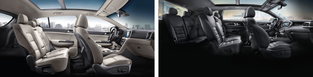The interiors of the Kia Sportage and Kia Sorento