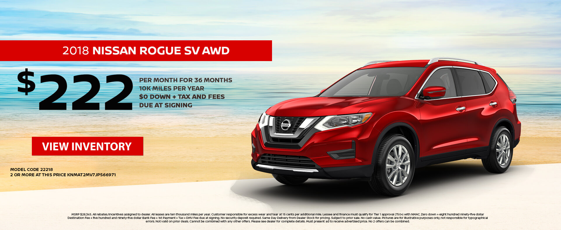 Nissan Rogue $222 Lease