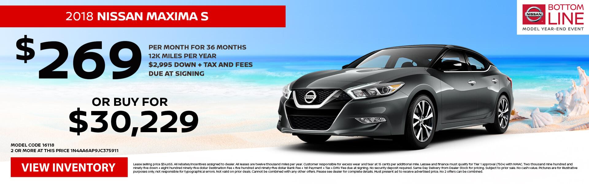 Nissan Maxima $269 Lease