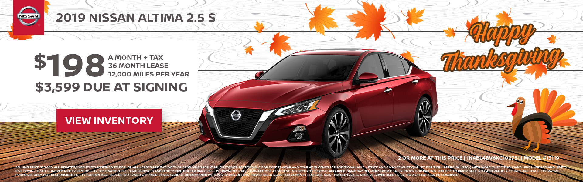 Nissan Altima $198 Lease