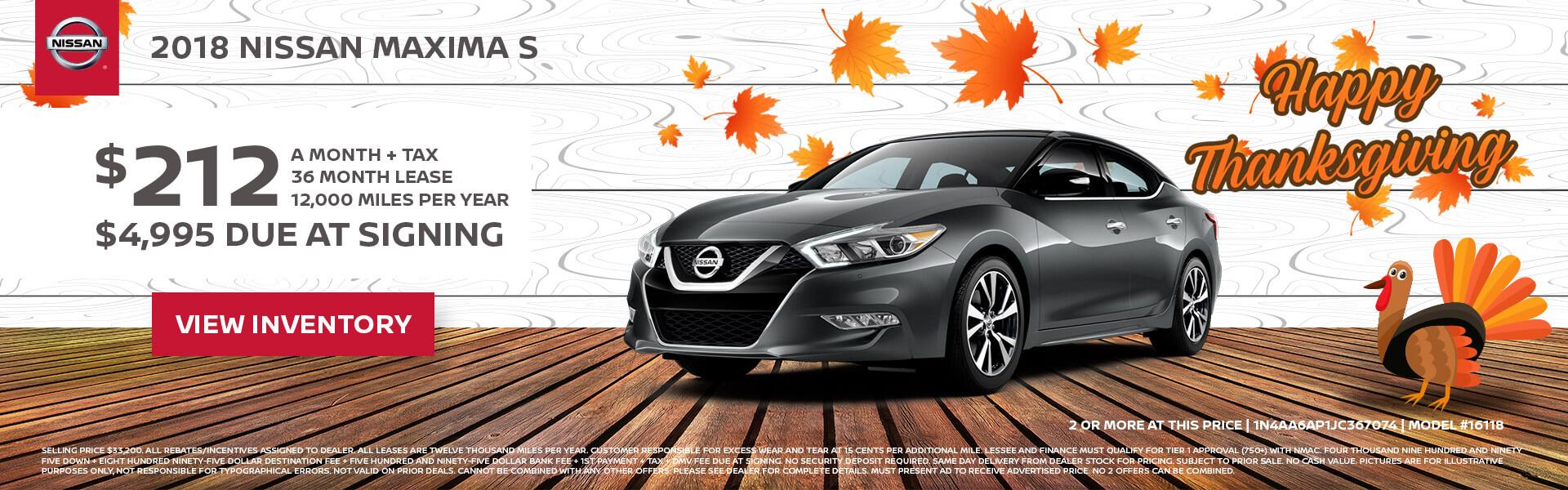 Nissan Maxima $212 Lease