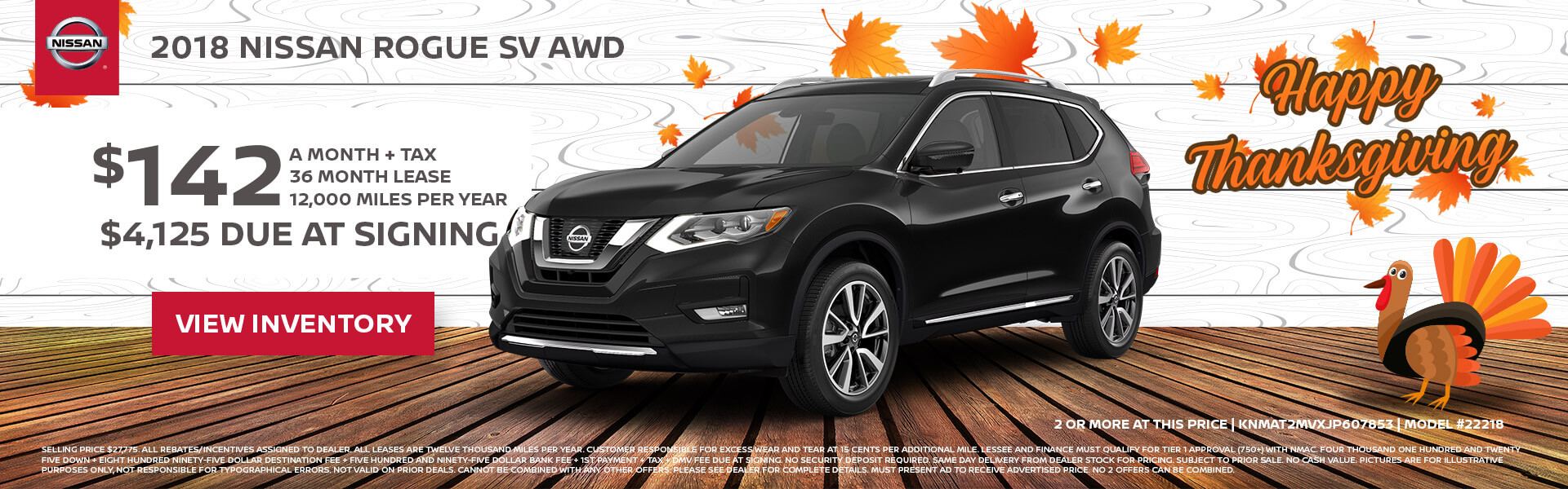 Nissan Rogue $142 Lease