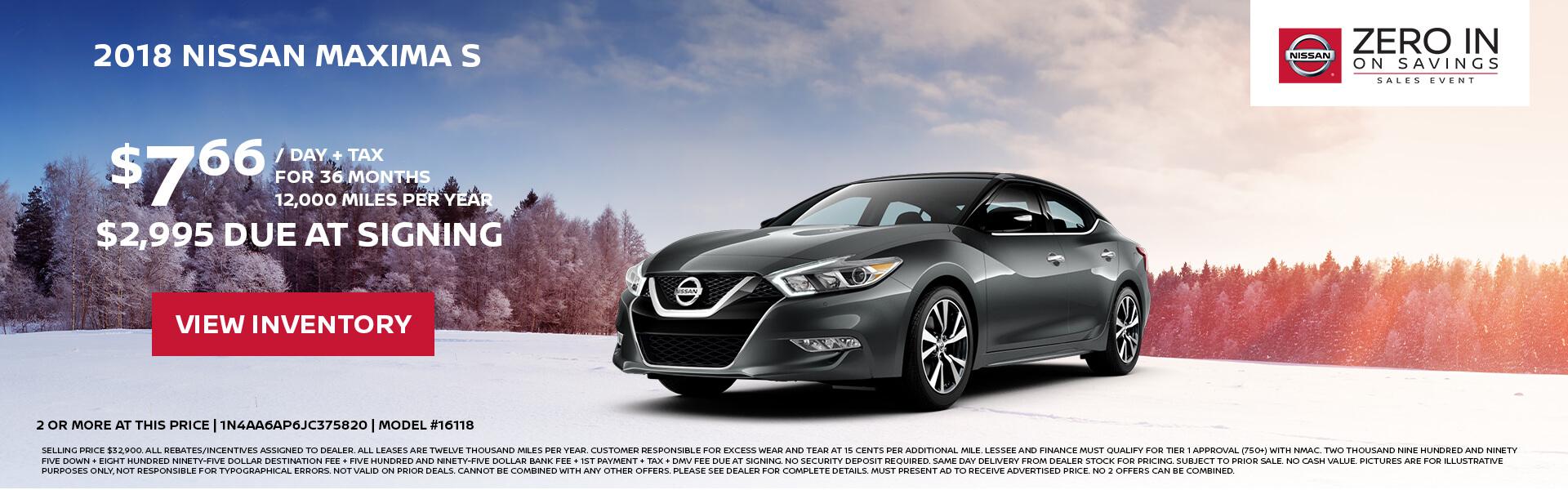 Nissan Maxima $233 Lease