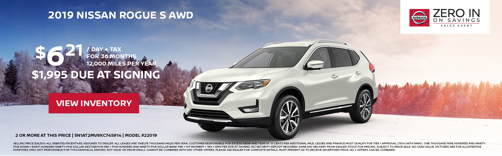 Nissan Rogue $189 Lease