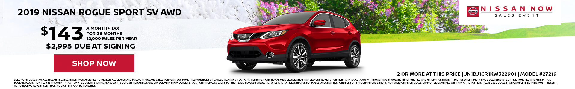 Nissan Rogue Sport $143 Lease
