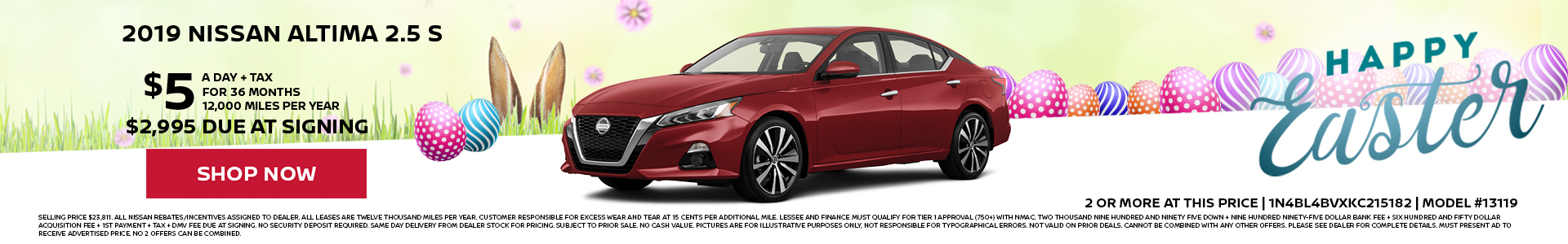 Nissan Altima $5 Day Lease