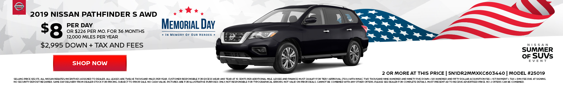 Nissan Pathfinder $8 Lease
