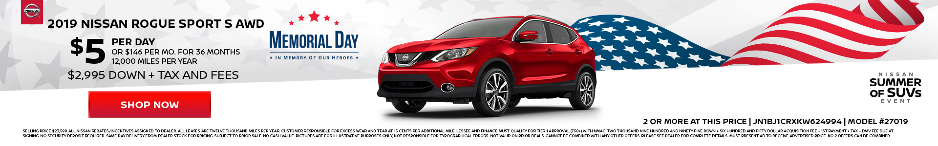 Nissan Rogue Sport $5 Lease
