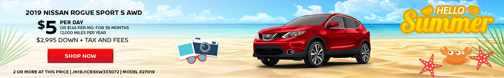 Nissan Rogue Sport $5 Day Lease