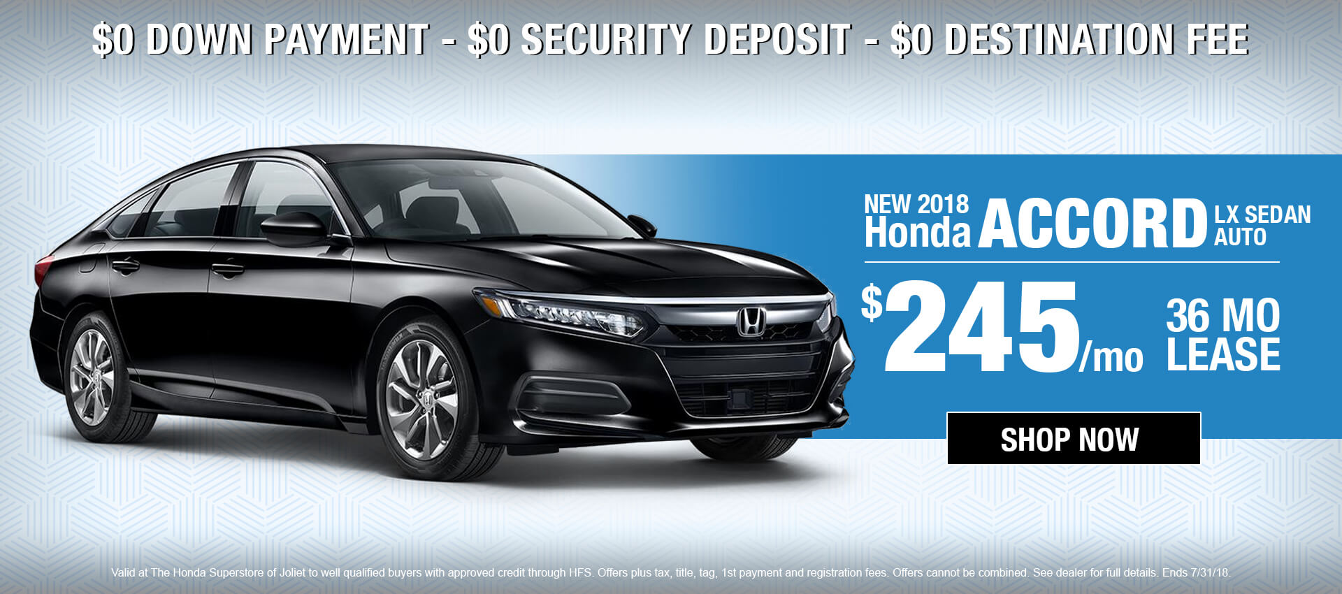 2018 Honda Accord $245