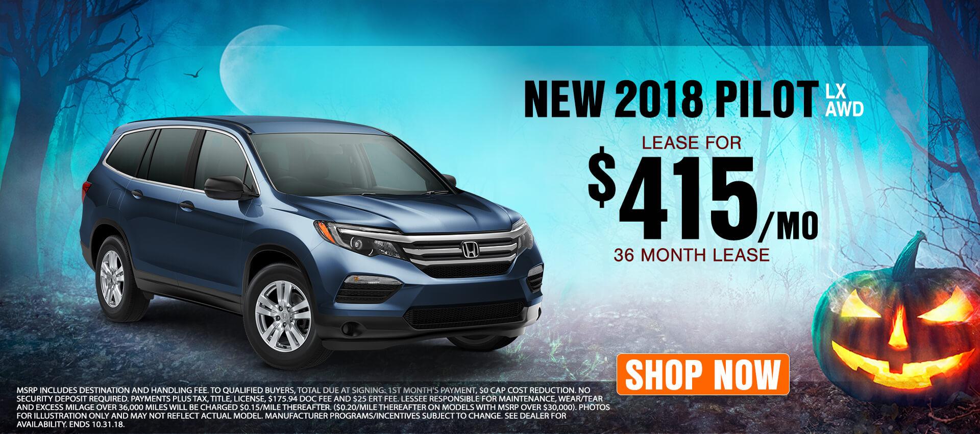 2018 Honda Pilot - Lease for $415