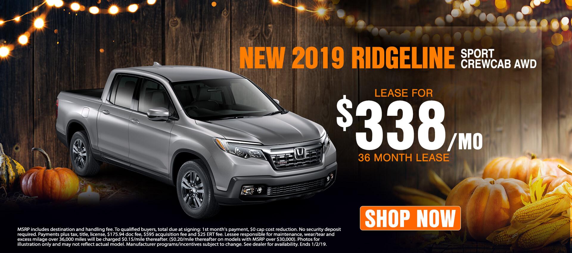 2019 Ridgeline $338 Lease