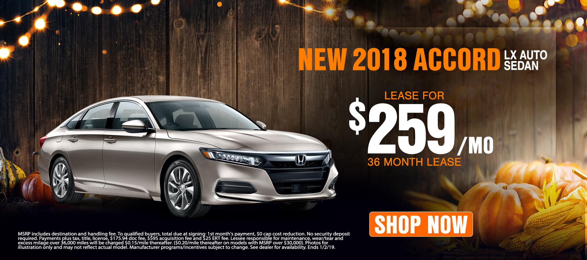 2018 Honda Accord $259