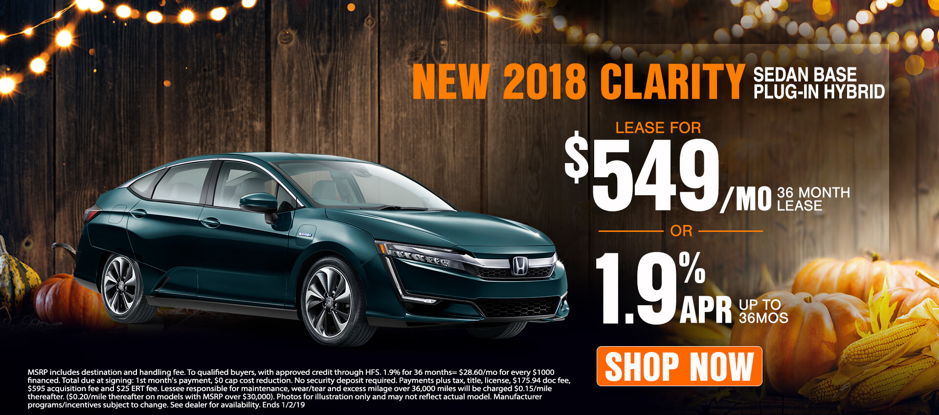 2018 Clarity $549 Lease