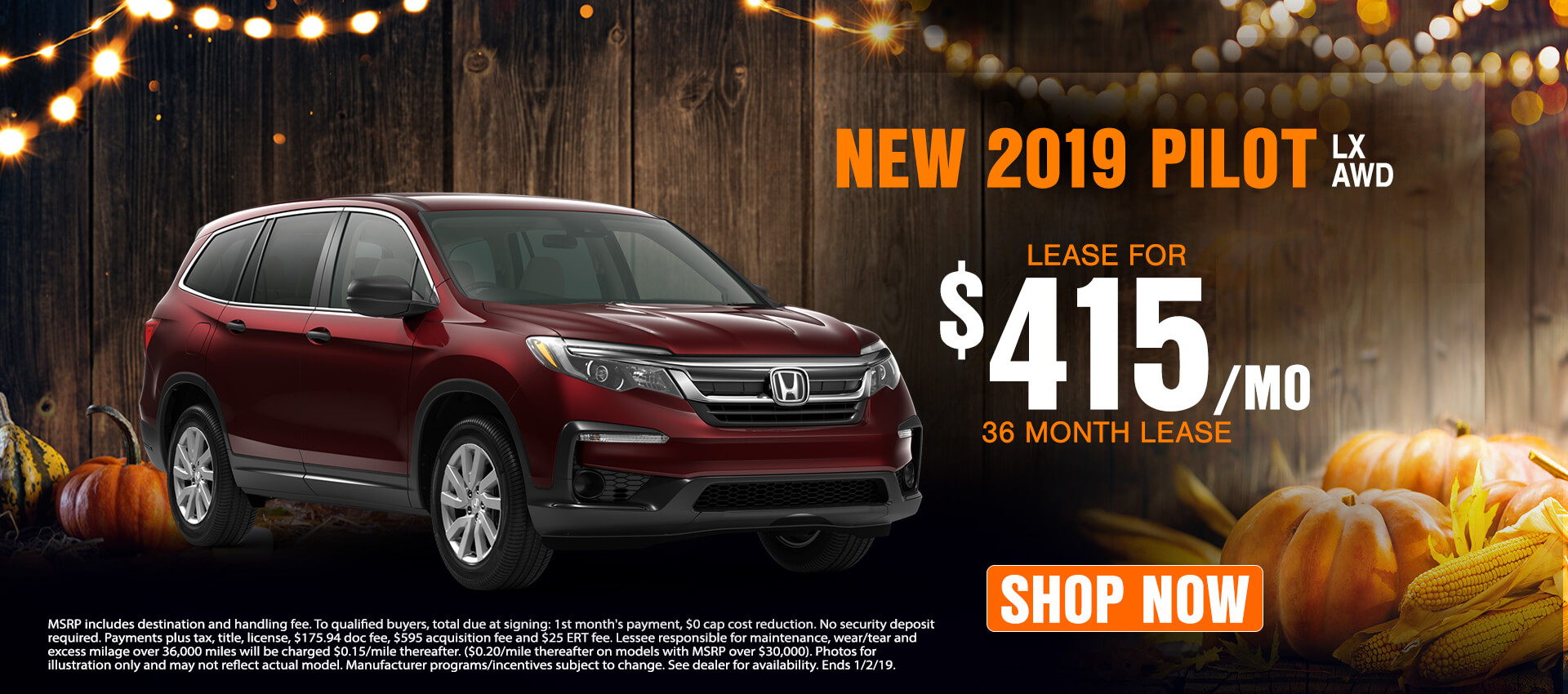 2019 Honda Pilot - Lease for $415