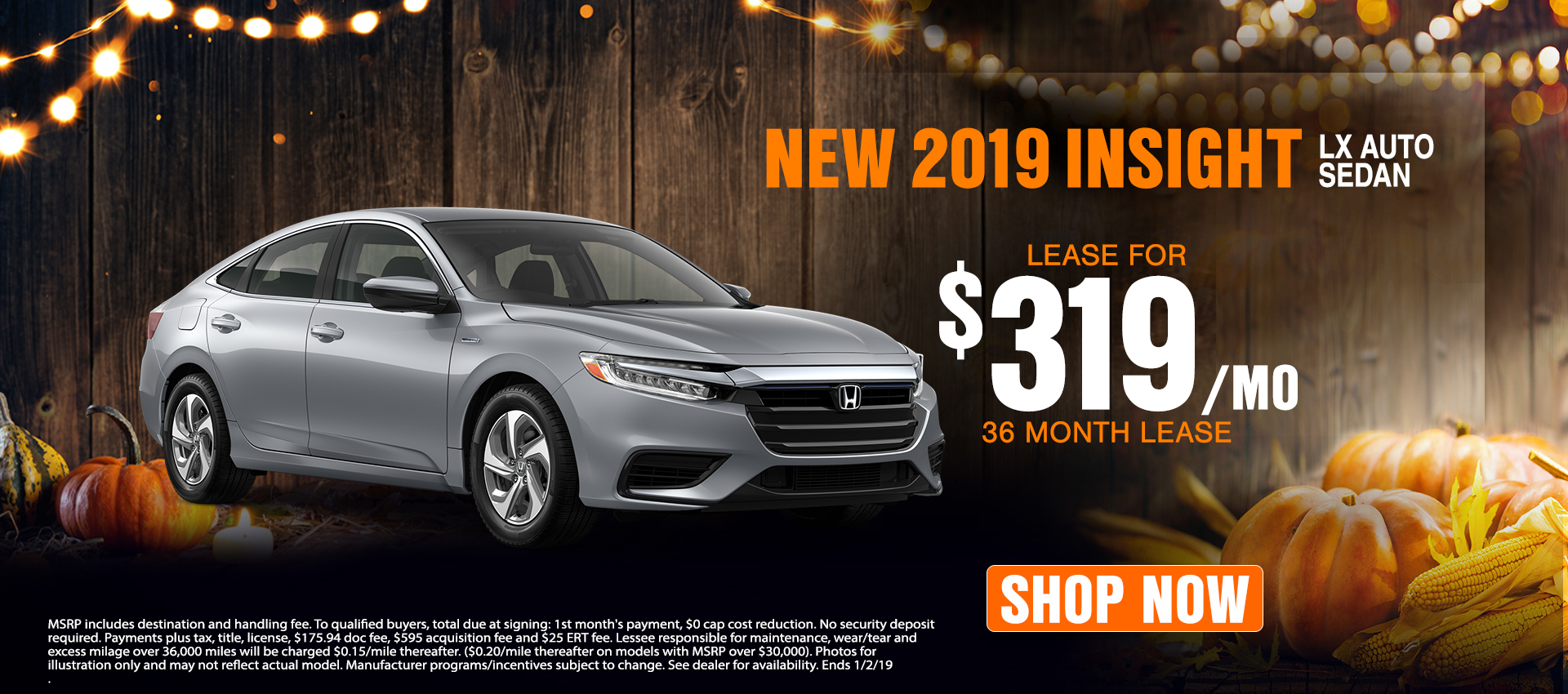 2019 Honda Insight $319 Lease