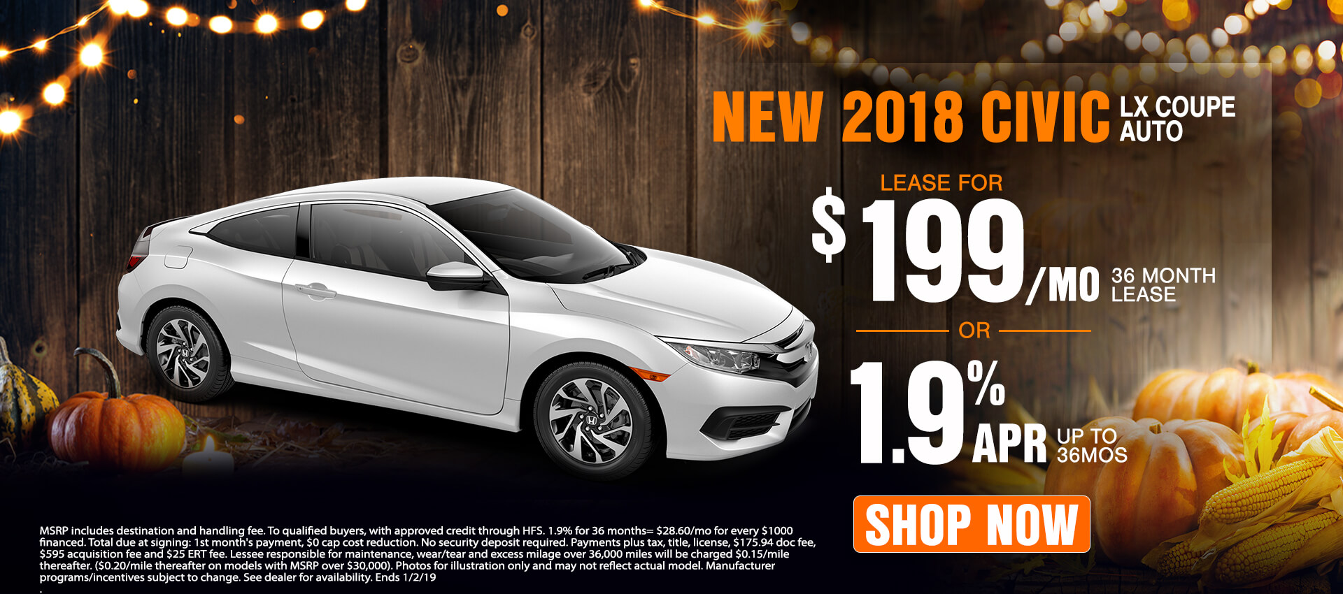 2018 Honda Civic Coupe $199 Lease
