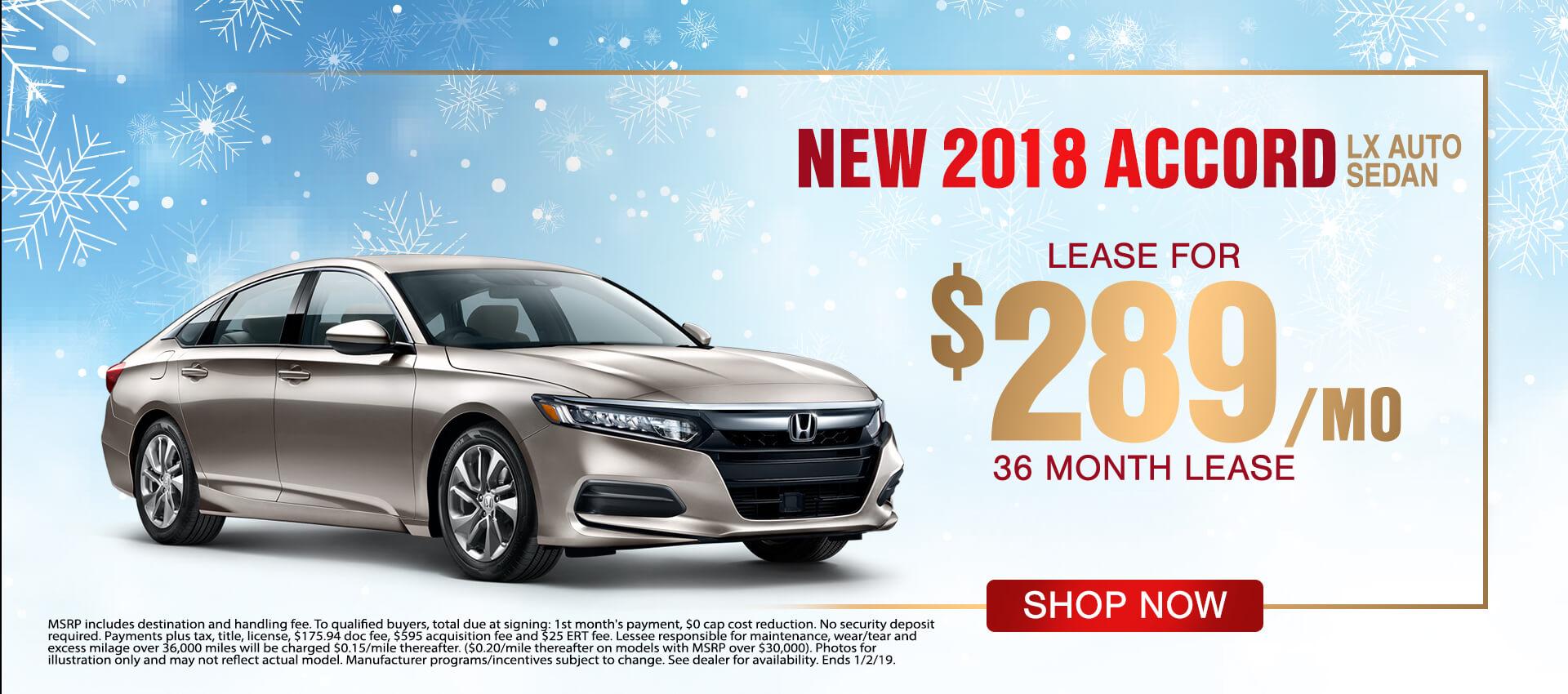 2018 Honda Accord $289