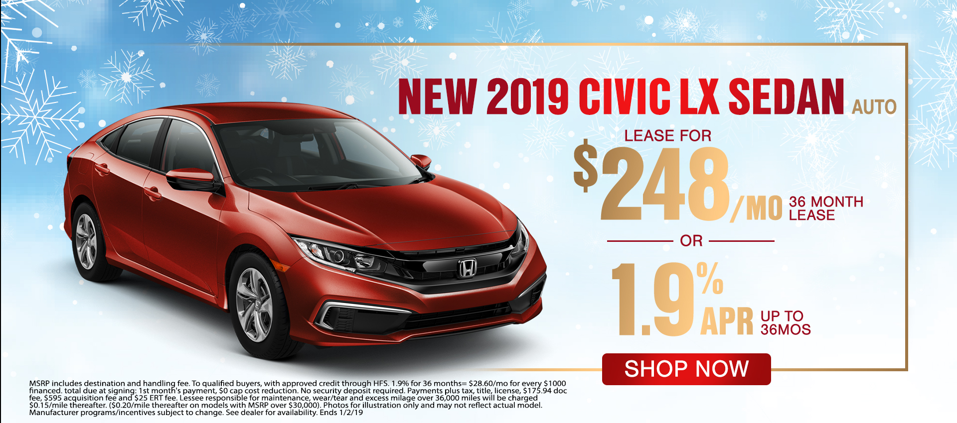 Civic Sedan - Lease for $248