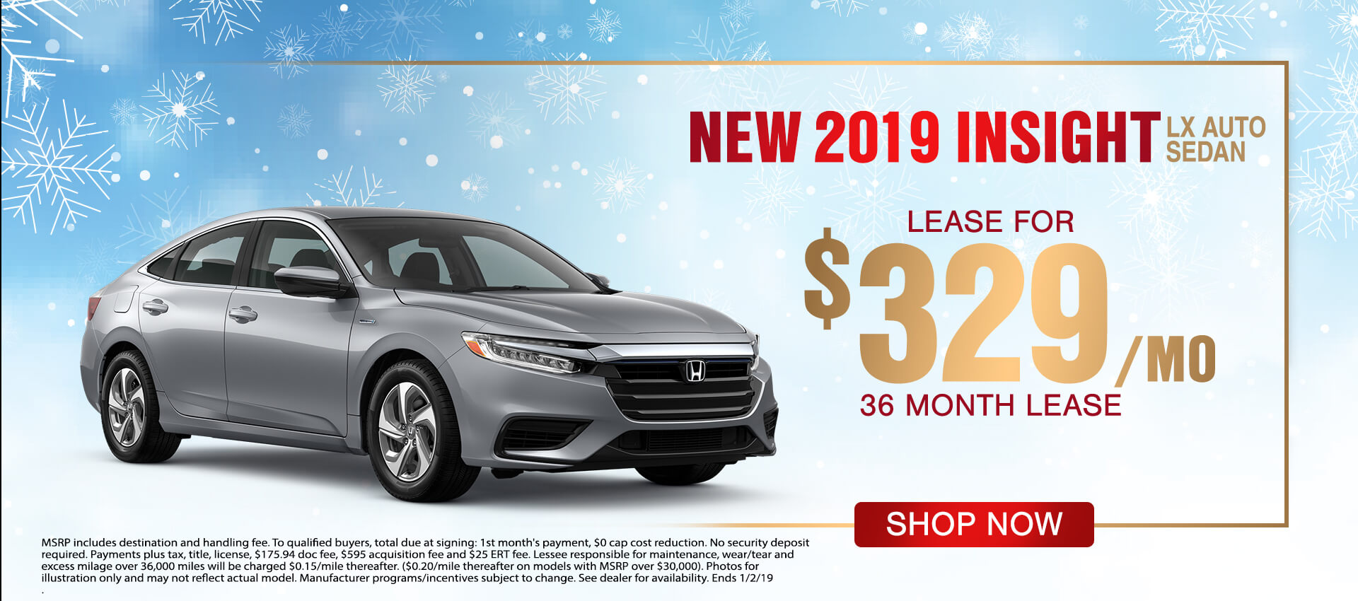 2019 Honda Insight $329 Lease