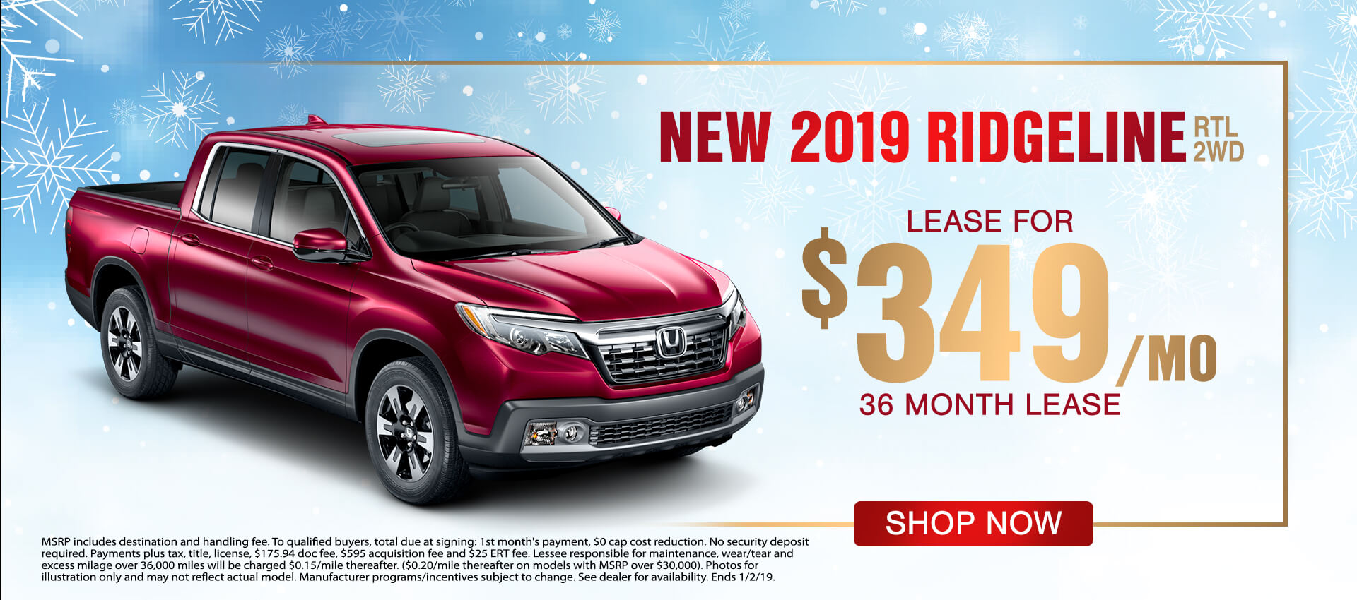 2019 Ridgeline $349 Lease
