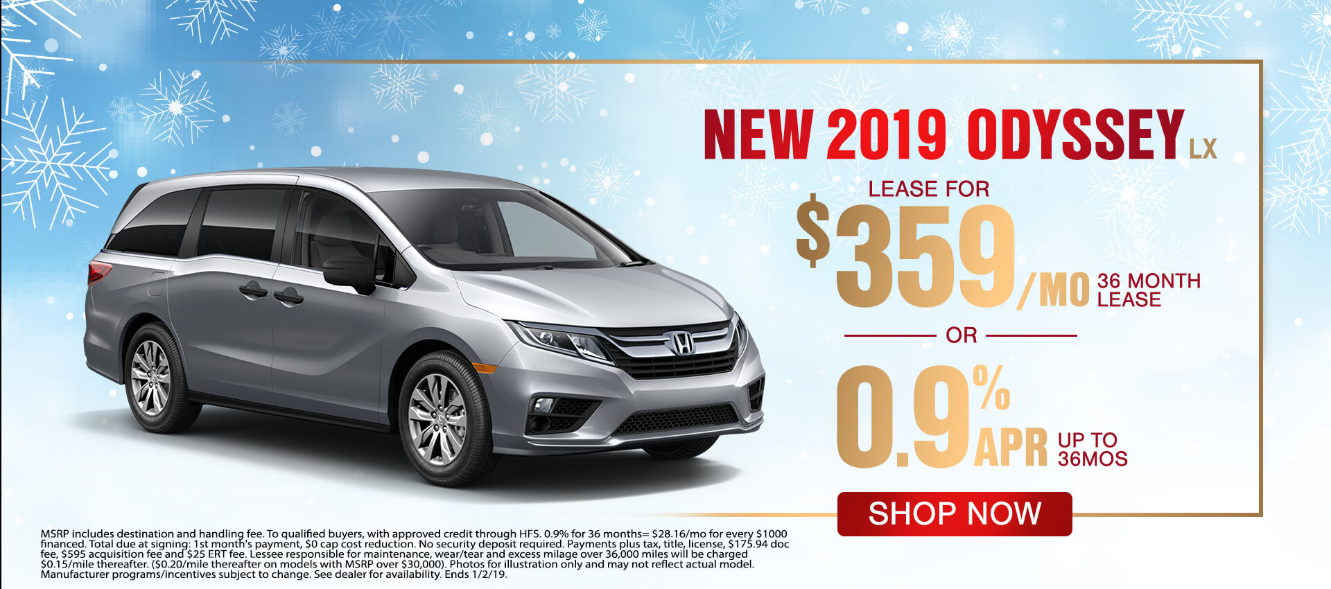 2019 Honda Odyssey $359