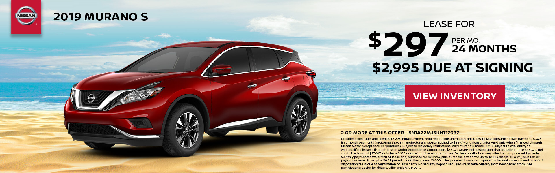 2019 Nissan Murano Lease for $297 for