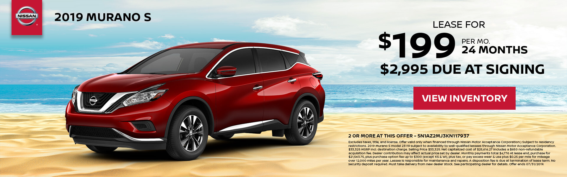 2019 Nissan Murano Lease for $199 for