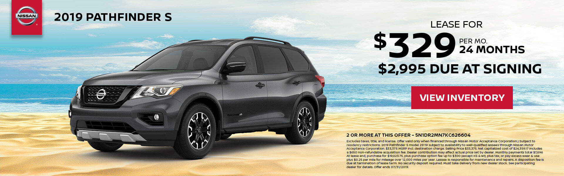 2019 Nissan Pathfinder Lease for $329