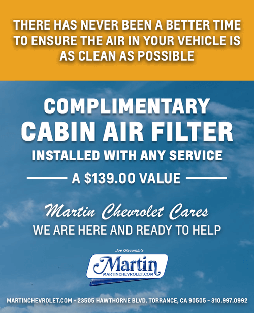 Complimentary Cabin Air Filter
