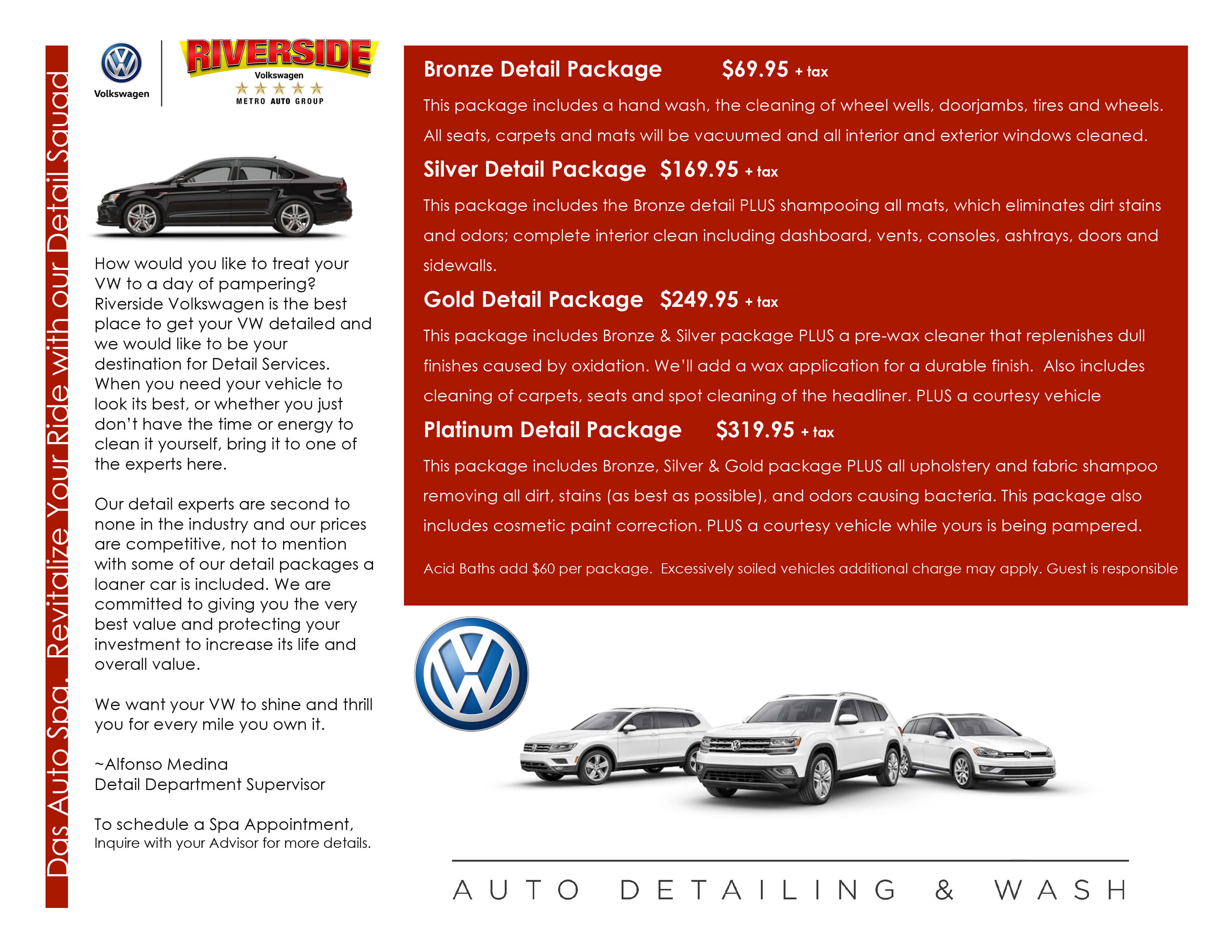 Volkswagen Detail Menu