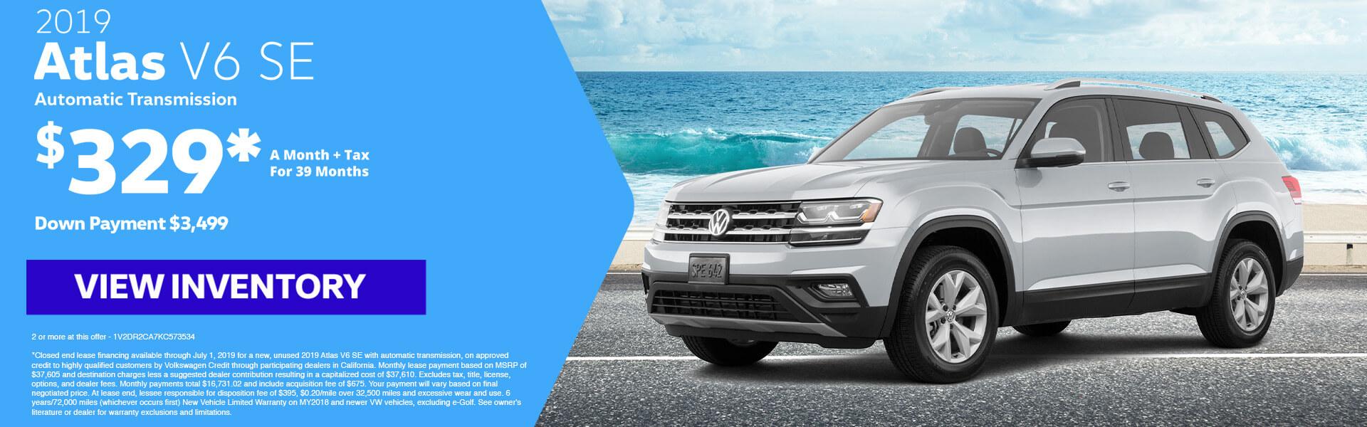 2019 Atlas V6 SE Lease for $329