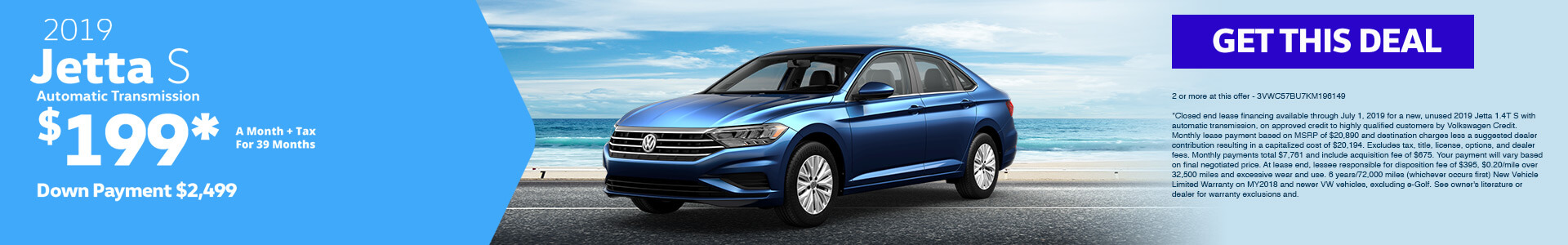 2019 Jetta Lease for $199