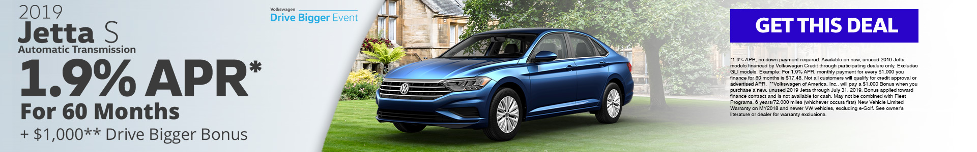2019 Jetta 1.9% APR for 60 months