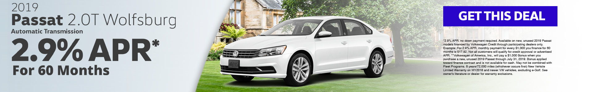 2019 Passat 2.9% APR* for 60 months