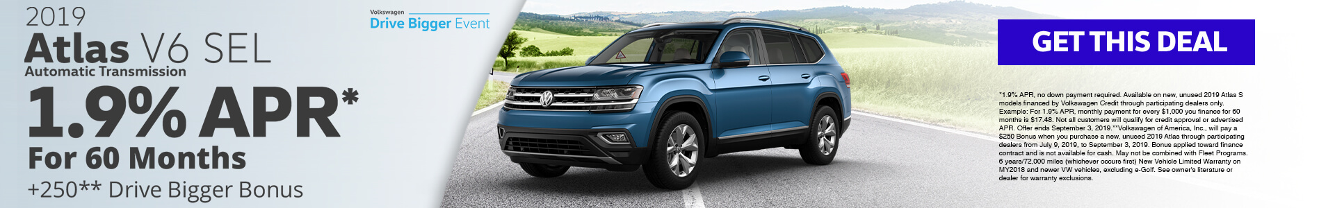 2019 Atlas 1.9% APR for 60 months