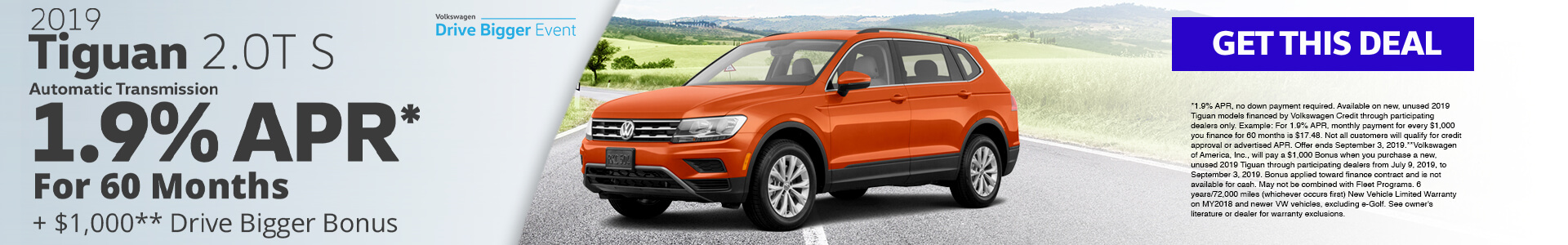 2019 Tiguan 1.9% APR for 60 months