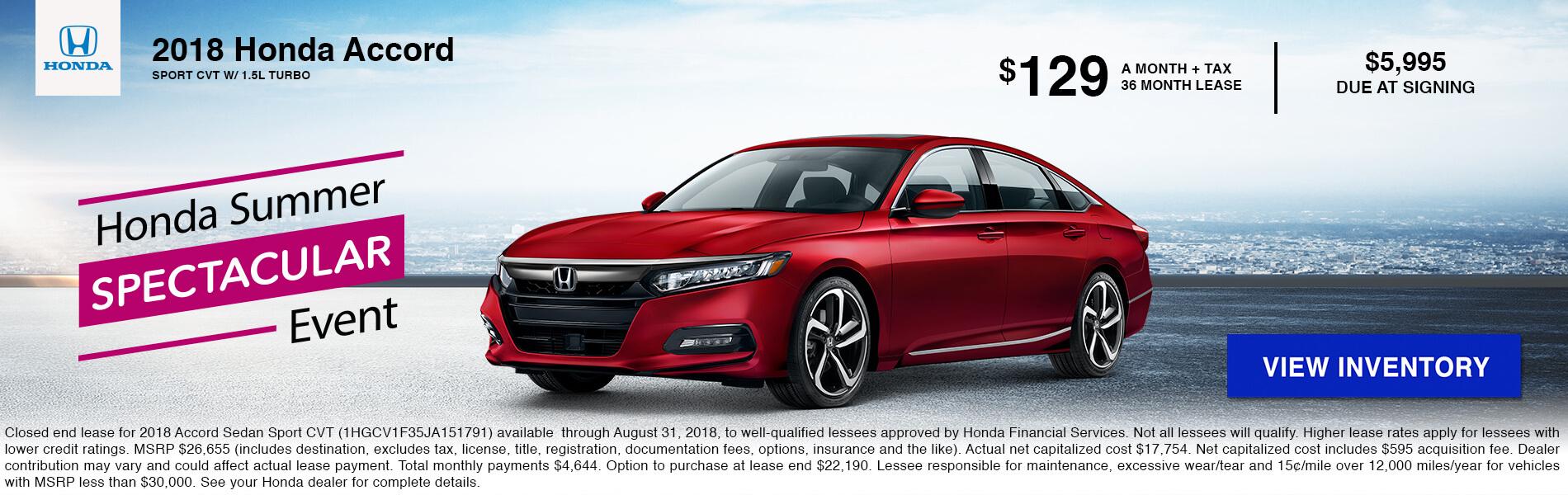 Accord Sedan Lease $129