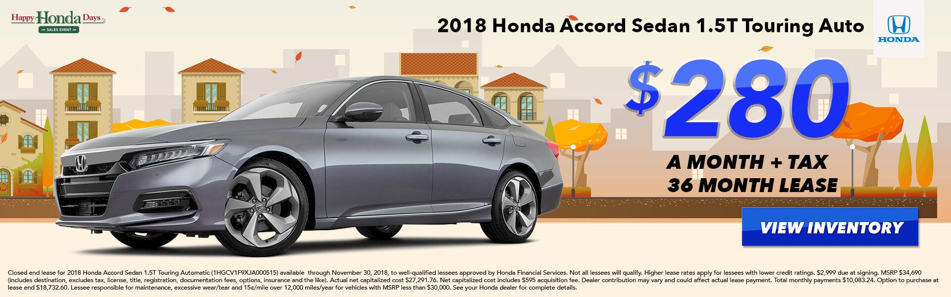 Accord Sedan Lease $280
