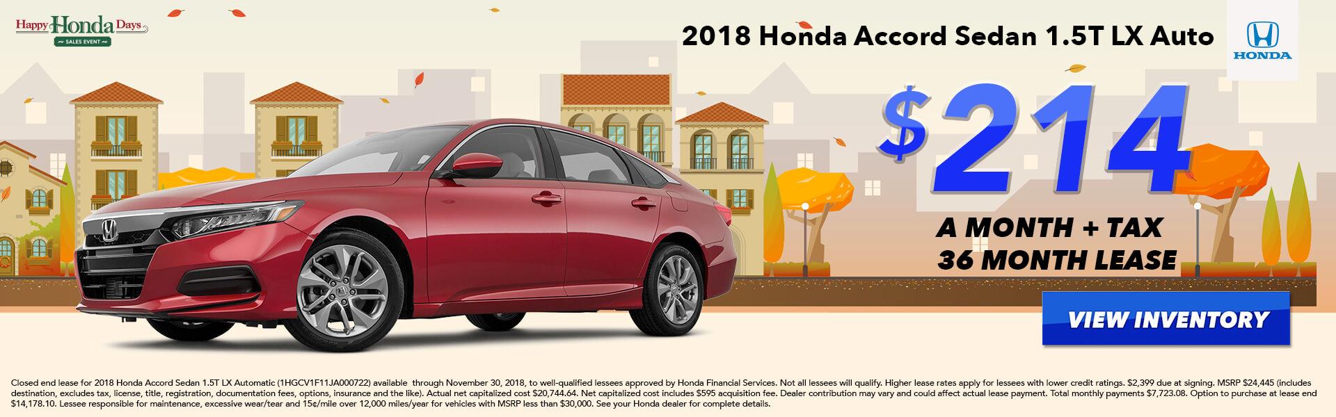 Accord Sedan Lease $214