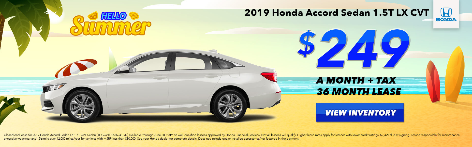2019 Honda Accord LX Lease for $249