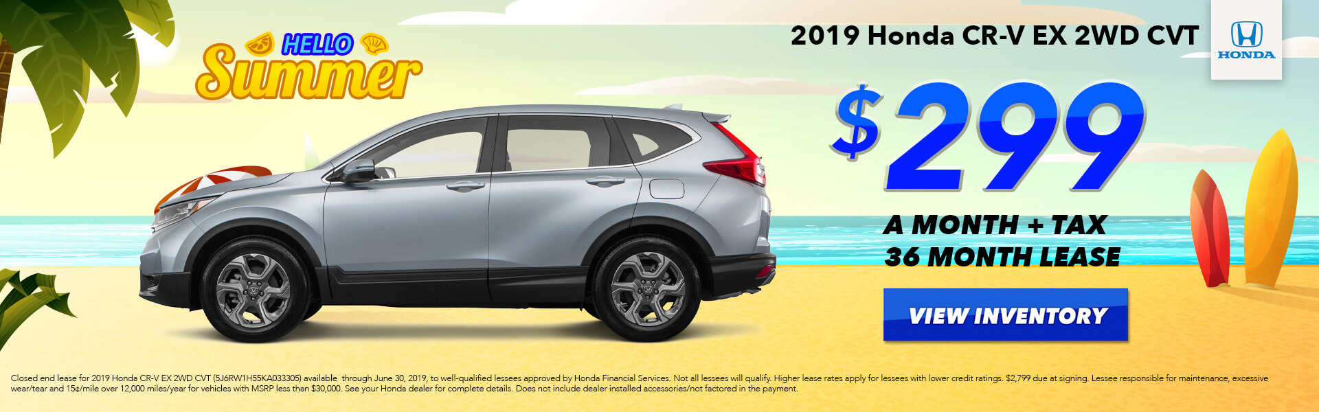 2019 Honda CR-V EX Lease for $299