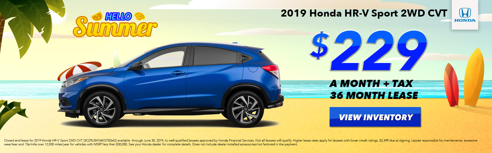 HR-V Sport Lease $229