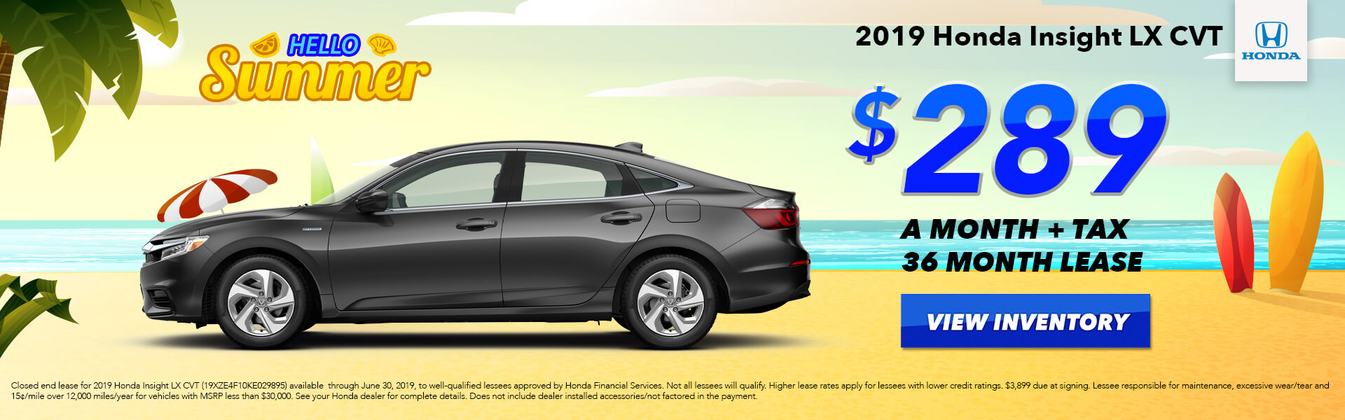 2019 Honda Insight Lease for $289