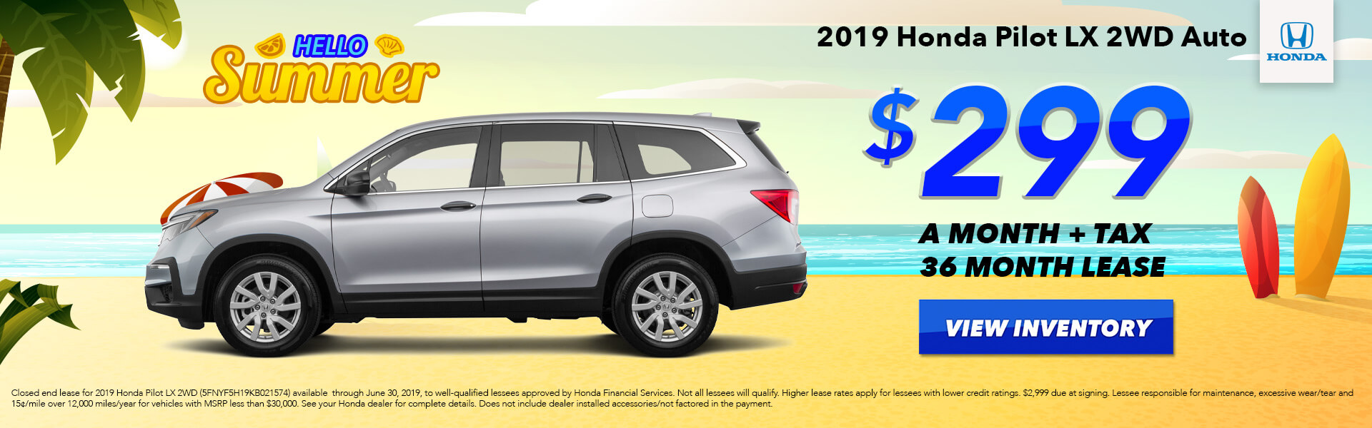 2019 Honda Pilot LX Lease for $299