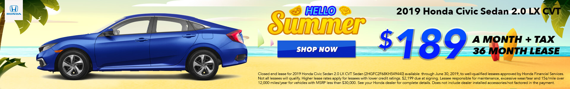 2019 Honda Civic Lease for $189